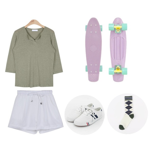 TODAY ME [shoes]컬러뷰 슈즈,daily monday Daily banding shorts,AIN linen Y-line T (4 colors)등을 매치한 코디