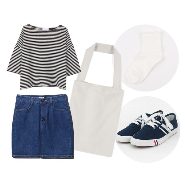 TODAY ME [shoes]컬러뷰 슈즈,MIXXMIX 인포켓 베이직 에코백,daily monday Roll cotton socks등을 매치한 코디