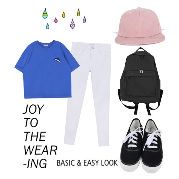 daily monday All day basic sneakers,daily monday Cotton daily backpack,MIXXMIX 데일리 워싱 스냅백등을 매치한 코디