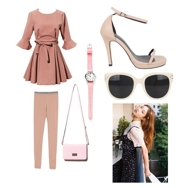 daily monday Soft color leggings(4colors),AIN chic edge line heel (6 colors),Reine Grooming Ruffle Belted Onepiece등을 매치한 코디