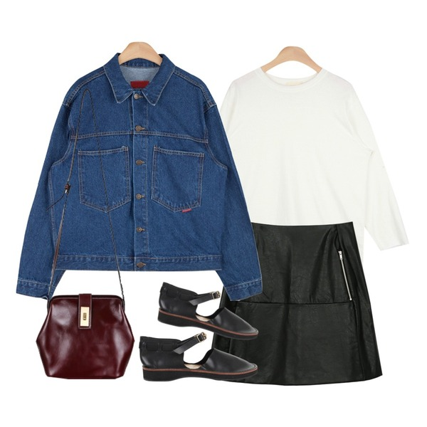 daily monday Zipper leather skirt,AIN vintage outfit denim jacket (2 colors),AIN standard cutting T (5 colors)등을 매치한 코디