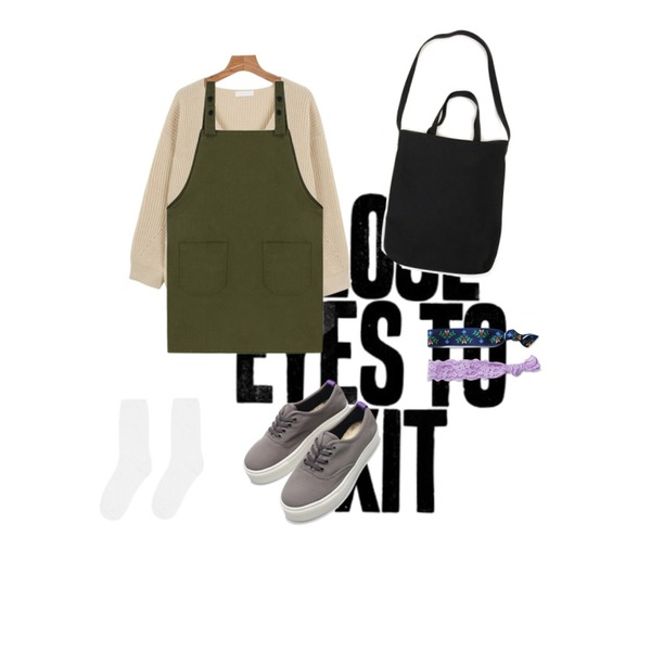 close eyes to exit,daily monday V-neck Loose fit knit,MIXXMIX 413 포켓 오버롤등을 매치한 코디