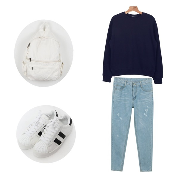 daily monday Cheese boy pants,TODAY ME [shoes]투라인 슈즈,daily monday Daily cotton basic man to man등을 매치한 코디
