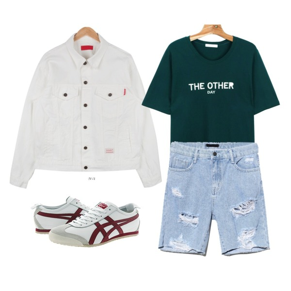 Reine Conjuring Scratch Denim Pants,daily monday The other day tee,AIN boy fit cotton jacket (4 colors)등을 매치한 코디
