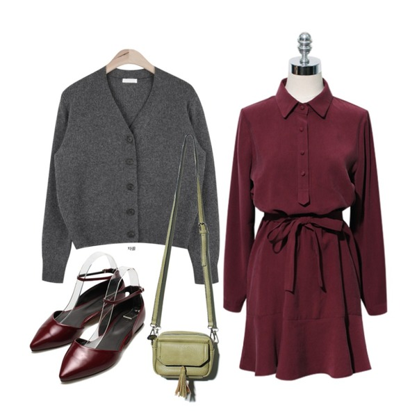 Reine Betty Tassel Bag,AIN wool apc basic cardigan (3 colors),Reine Girlish Motive Shirts Onepiece등을 매치한 코디