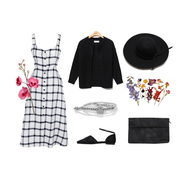 daily monday Check bustier one-piece네이비 9/14 입고예정,Reine Round No-Button Knit Cardigan,biznshoe Suede stiletto flat (3color)등을 매치한 코디