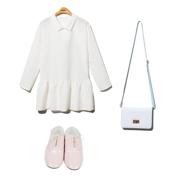 AIN dancing loafer (2 colors),Reine Fiona Mini Cross Bag,Reine Petite Collar Ruffle Onepiece등을 매치한 코디