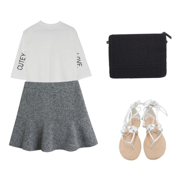 Rough & Detail leather laceup sandals, shoes_white,TODAY ME [skirt]이즈굿 스커트,MIND ME CUTEY LOVE tee (2color)등을 매치한 코디