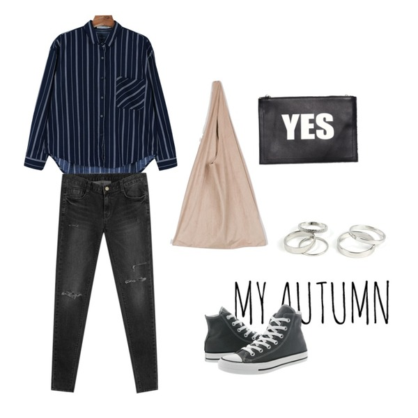 my autumn,daily monday Modern basic stripe shirts,TODAY ME [skinny]모토 스키니진등을 매치한 코디