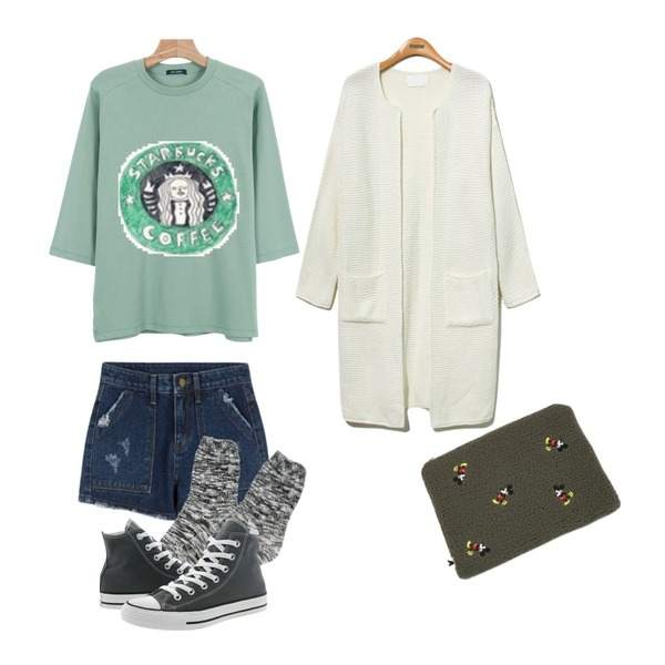 MIXXMIX 839 심플 숏츠,daily monday Daily color 7-tee,Reine Monopolice Loose Fit Long Cardigan 등을 매치한 코디