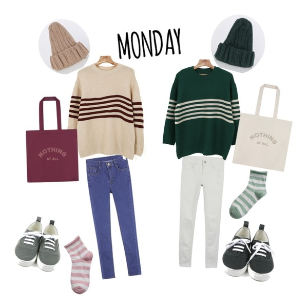 daily monday Modern back point sneakers,daily monday Mind color skinny,MIXXMIX 782 데님 팬츠등을 매치한 코디