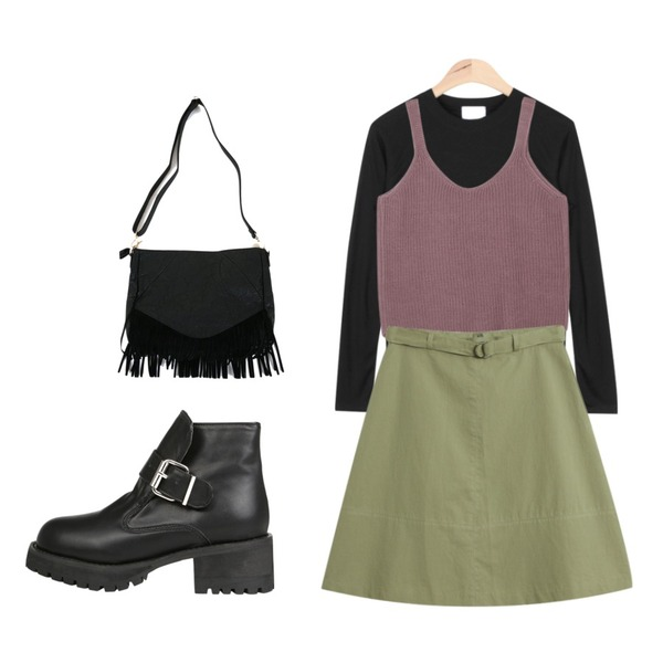 """TODAY ME [skirt]도레미 스커트,AIN extremely elastic T (6 colors),AIN """" FRESH A """" knit bustier - marsala등을 매치한 코디"""