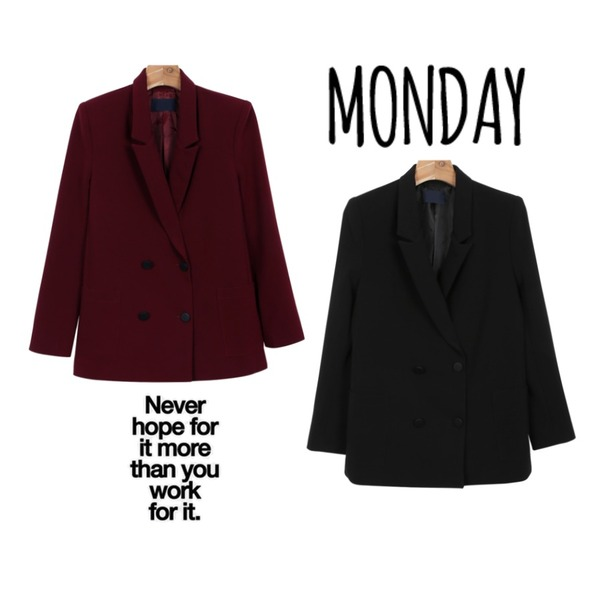 Never,daily monday Shopper suit jacket,daily monday Shopper suit jacket등을 매치한 코디