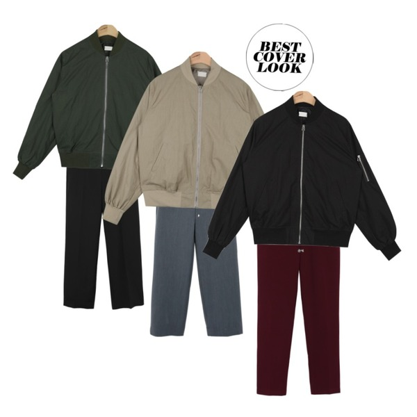 daily monday Daily straight fit slacks,daily monday Daily straight fit slacks,AIN light bomber jumper (3 colors)등을 매치한 코디