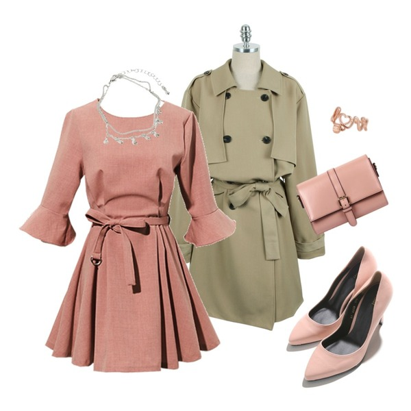 MIXXMIX 러브 코일 이어커프,Reine Grooming Ruffle Belted Onepiece,daily monday Natural-fit trench jacket등을 매치한 코디