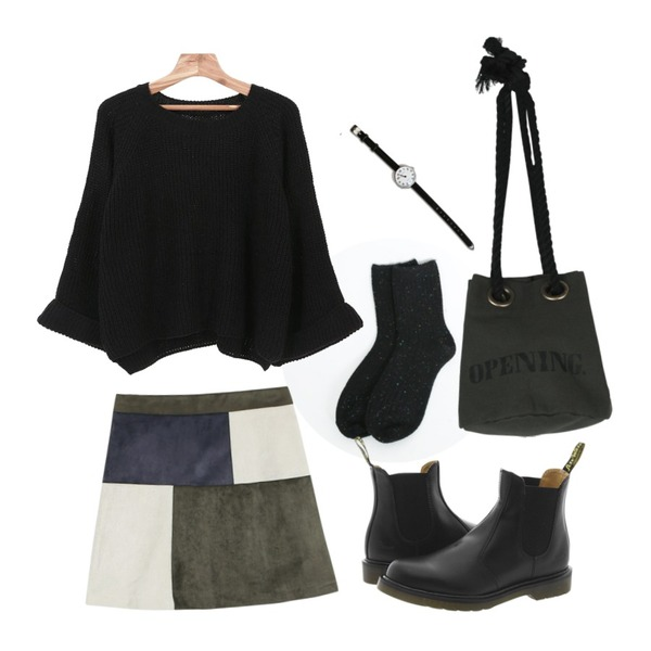daily monday Lambswool color bokashi socks,Zemma World 나의계절 (knit),daily monday Suede square a-line skirt등을 매치한 코디