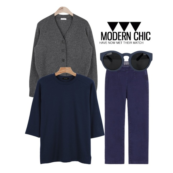 MIXXMIX 934 와이드 데님 팬츠,daily monday Daily color 7-tee,AIN wool apc basic cardigan (3 colors)등을 매치한 코디