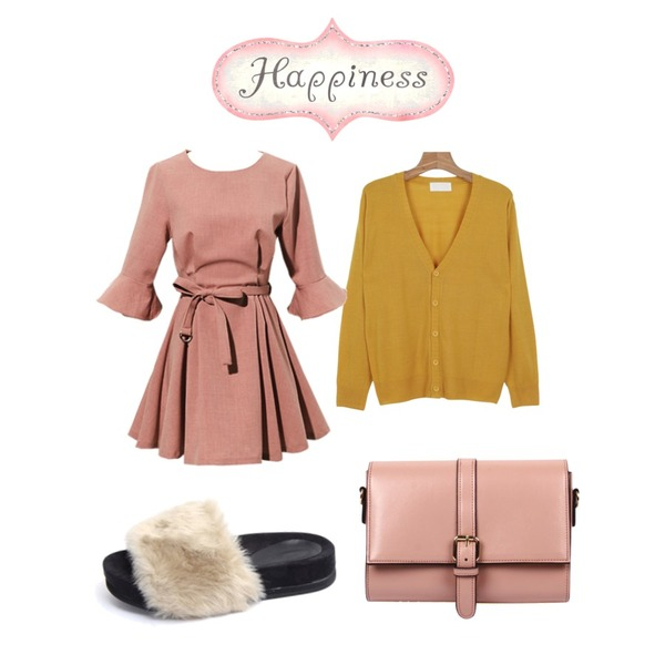 daily monday Basic mood cardigan,Reine Grooming Ruffle Belted Onepiece,MIND ME 리얼 레빗 슬리퍼 (4color)등을 매치한 코디