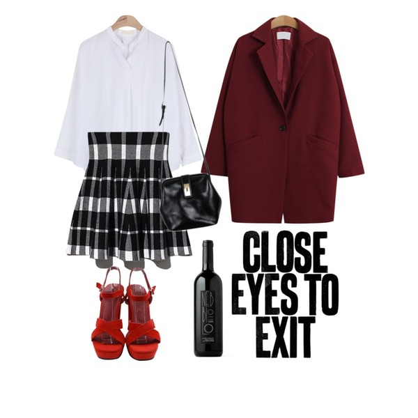 AIN open draping V-neck blouse (3 colors),Reine Classic Check Knit Skirt,TODAY ME [jacket]비스티 자켓등을 매치한 코디