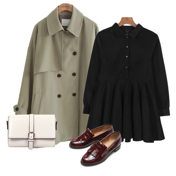 common unique [OUTER] MELTED TRENCH COAT,Reine Toilette Enamel Loafer ,daily monday Maison shirt one-piece등을 매치한 코디