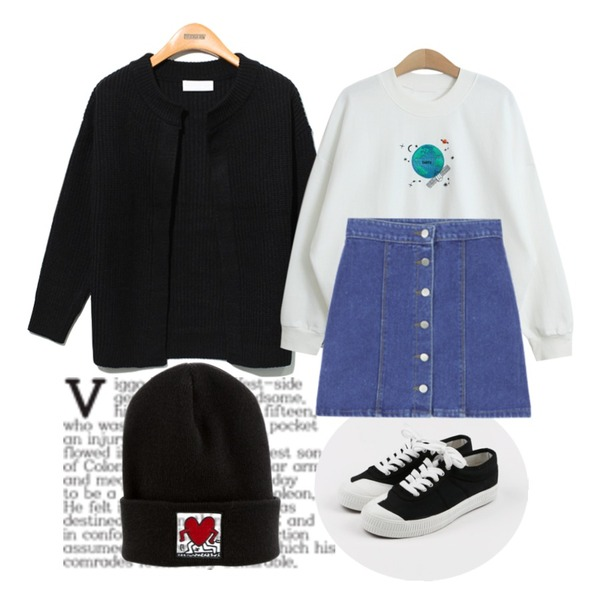 Untitled,Reine Round No-Button Knit Cardigan,daily monday Front cozy sneakers등을 매치한 코디