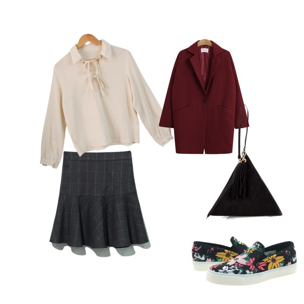 Reine Ladio Check Flare Skirt,TODAY ME [jacket]비스티 자켓,Salon de byme 테일러 bl ( 크림 )등을 매치한 코디