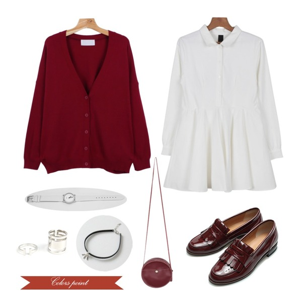 Pebble square SET (2ea),daily monday Wool loose-fit cardigan,daily monday Maison shirt one-piece등을 매치한 코디