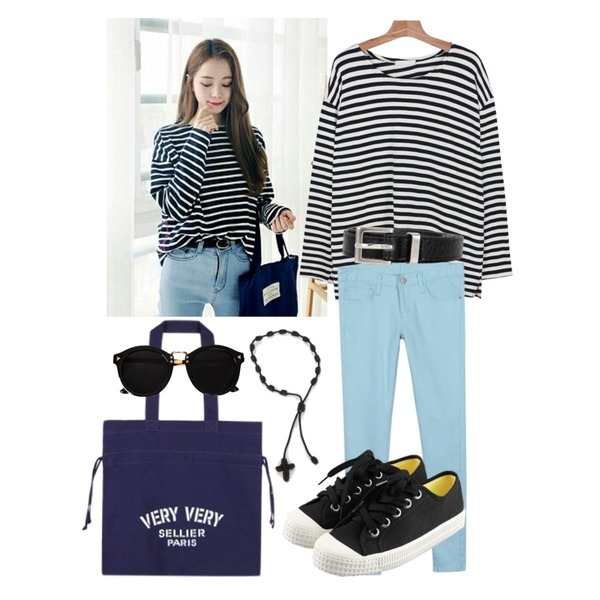 daily monday Bright color skinny,daily monday Long boxy stripe tee,ㅇㅅㅁ라롤ㅇㄹㅁ등을 매치한 코디