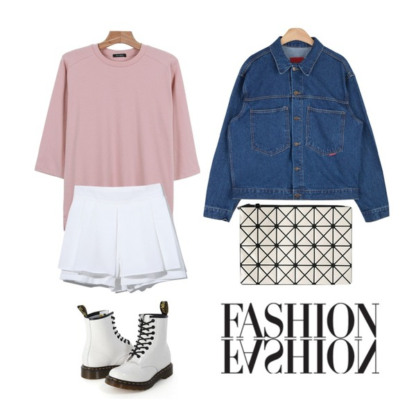 Reine Colourful Skirt Pants,AIN vintage outfit denim jacket (2 colors),daily monday Daily color 7-tee등을 매치한 코디
