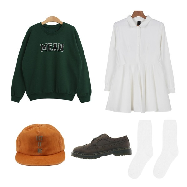 daily monday Cotton needlepoint snapback,TODAY ME [mtm]민 맨투맨,daily monday Maison shirt one-piece등을 매치한 코디