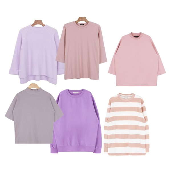 daily monday Wide sleeve spring knit,MIXXMIX 라운드 넥 데일리 티셔츠핑크 18일입고예정,daily monday Daily color 7-tee등을 매치한 코디