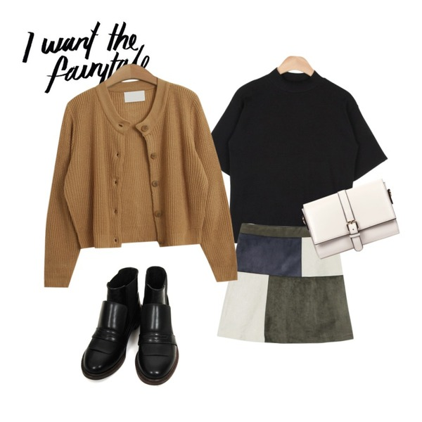 @thewriting,AIN light low neck 1/2 golgi T (4 colors),daily monday Suede square a-line skirt등을 매치한 코디