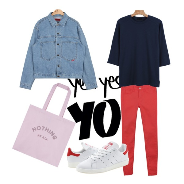 insta @thewriting,daily monday Colorful slim skinny,AIN vintage outfit denim jacket (2 colors)등을 매치한 코디