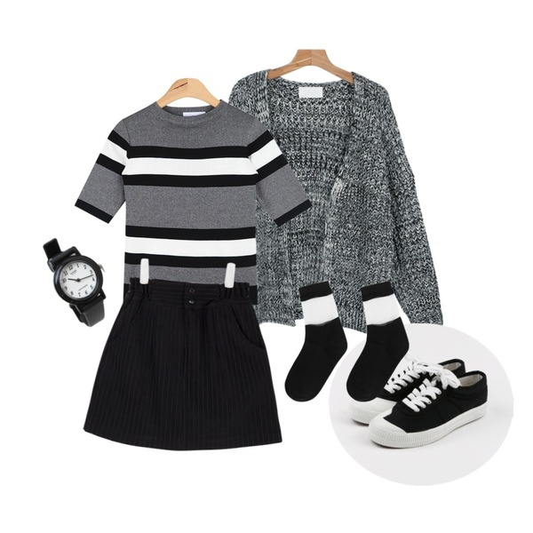 daily monday Front cozy sneakers,AIN sensual stripe half kint (3 colors),daily monday Non-button loose knit cardigan등을 매치한 코디