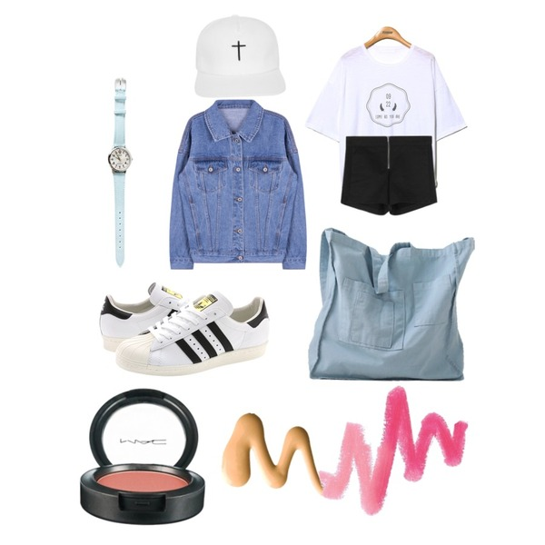 Reine Come As You Are 09/22 Tee,daily monday Casio two-color denim watch,MIXXMIX 11 데님 자켓등을 매치한 코디