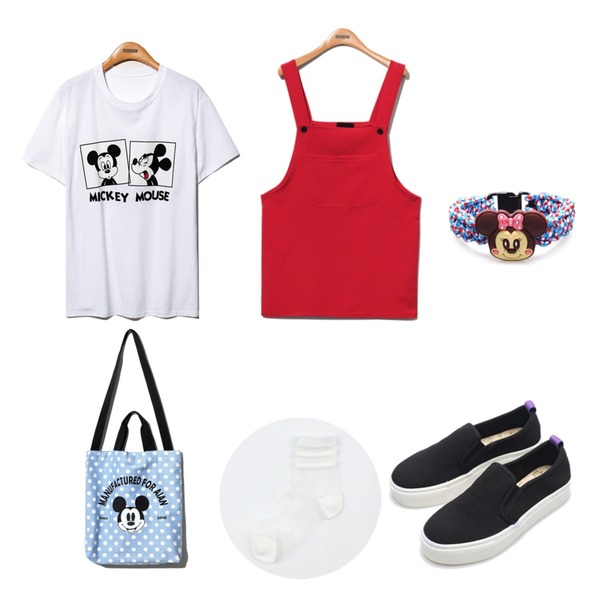 Reine Dot Mickey Cross Eco Bag,Reine Mickey Movie Boxy Tee,Reine Something Overall Onepiece등을 매치한 코디