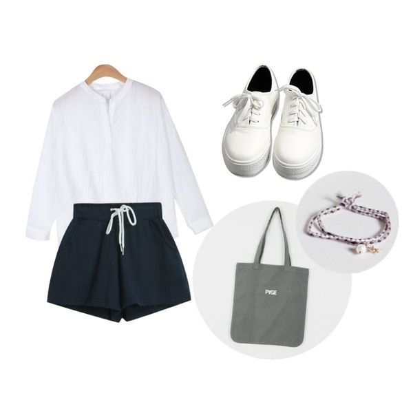 common unique [SHOES] SKIN SHOES,AIN balloon V-neck blouse (5 colors),TODAY ME [set]야미 SET등을 매치한 코디