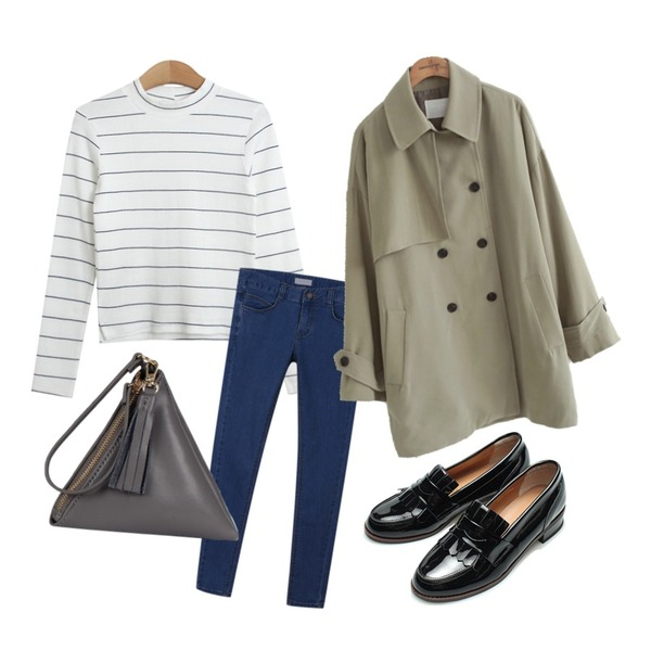 daily monday Return many denim skinny,TODAY ME [tee]르망 단가라티,common unique  MELTED TRENCH COAT등을 매치한 코디