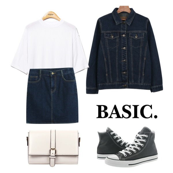 Reine Bronze Soft Round Tee ,daily monday Spring denim jacket,TODAY ME [skirt]캣츠 스커트등을 매치한 코디