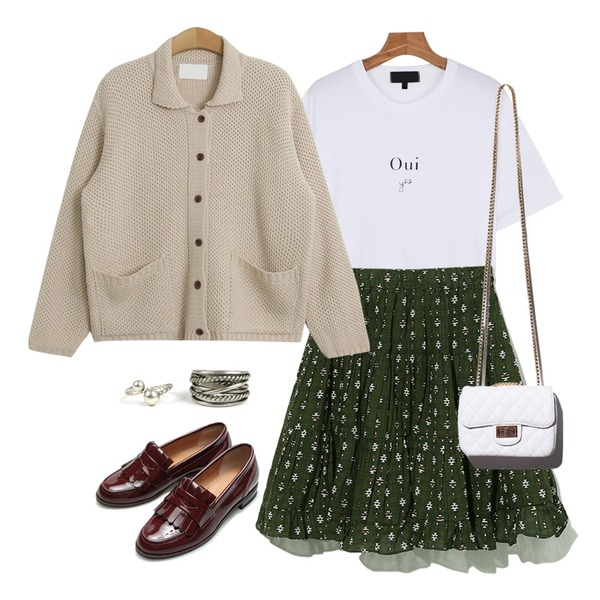 daily monday Boxy-fit Cotton lettering tee,Reine Pual Unique Banding Skirt,TODAY ME [cardigan]코노바 가디건등을 매치한 코디