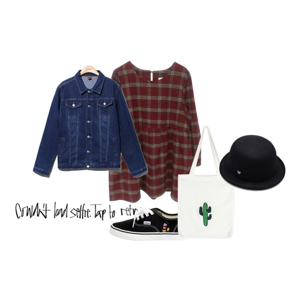 Rough & Detail cheerful check, ops,insta@thewriting,Reine Focus Loose Fit Denim Jacket 등을 매치한 코디