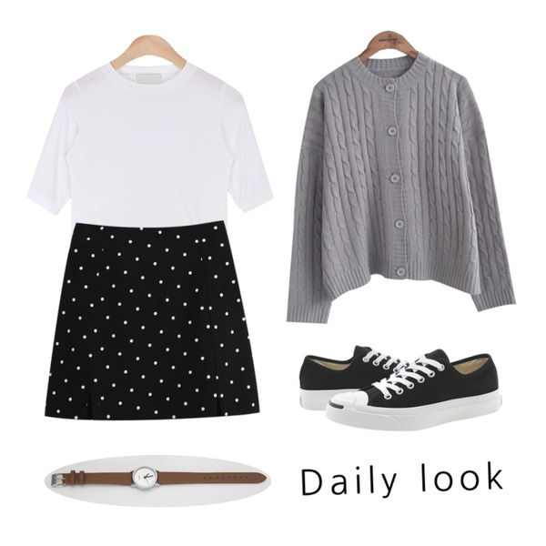 AIN tension soft half-neck 1/2 T (4colors),common unique  TWIST BOXY CARDIGAN,TODAY ME [skirt]카푸치노 스커트등을 매치한 코디
