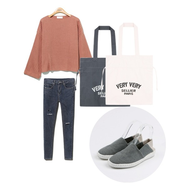 daily monday Oxford slip-on,Reine So Much Cutting Skinny ,Reine Loose Nature-Fit  Knit Tee등을 매치한 코디