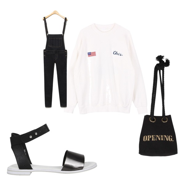 AIN universe summer sandal (2 colors),Reine Genis Suspender Denim Pants,biznshoe Snoopy man-to-man등을 매치한 코디