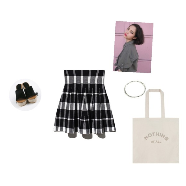 daily monday Suede straw wedge heel,Pebble (92.5% SILVER) thread knuckle ring,Reine Classic Check Knit Skirt등을 매치한 코디