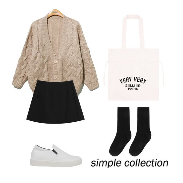 AIN opening mood slip-on (2 colors),Reine Provance Twist Knit Cardigan,TODAY ME [skirt]하이걸 스커트등을 매치한 코디