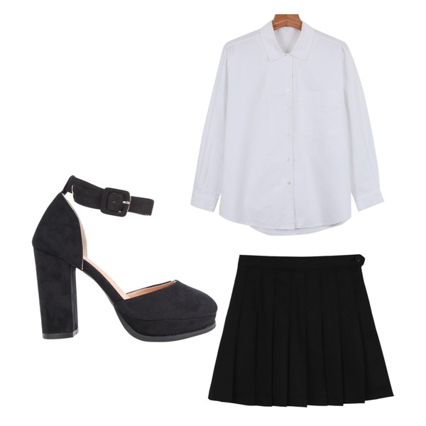 daily monday Tennis pants skirt,AIN suede strap heel (2 colors),daily monday Daily v-open shirts등을 매치한 코디