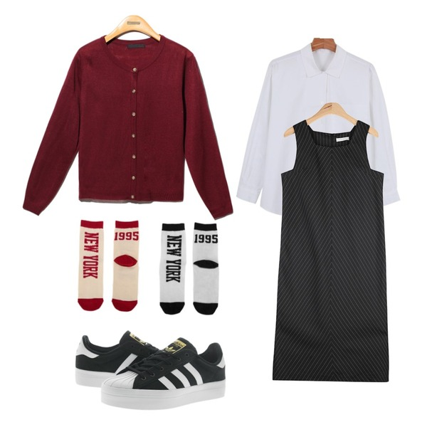 Reine Basic You Round Cardigan,AIN mordern stripe long ops (2 colors),daily monday Daily v-open shirts등을 매치한 코디