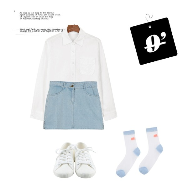 Untitled,daily monday Basic pocket shits,daily monday Mini denim pants skirt등을 매치한 코디