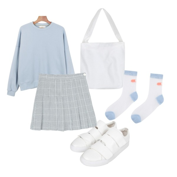 daily monday Daily pastel tone man to man,AIN mono fure cotton bag (2 colors),AIN velcro sneakers (2 colors)등을 매치한 코디